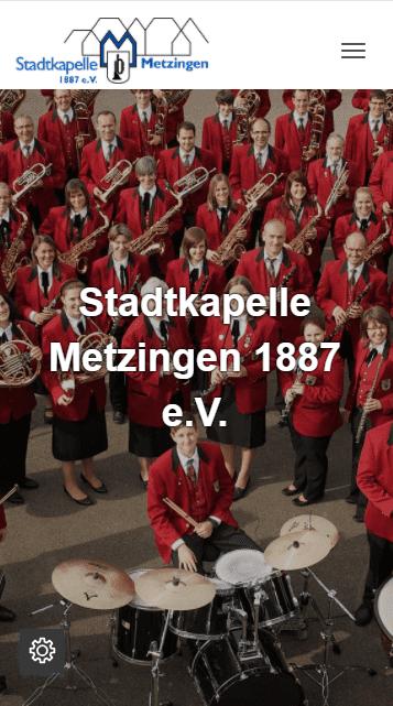 Neue Webseite der Stadtkapelle Metzingen (mobile Ansicht).